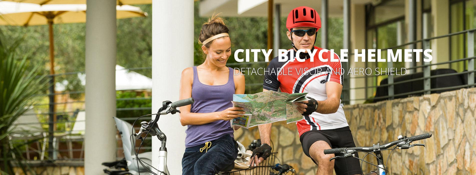 city bicycle helmet banner